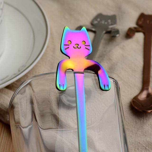 Stainless Steel Cat Teaspoons 4pcs