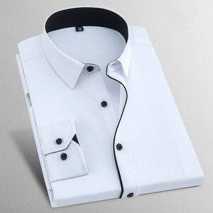 Image 3 - Camisas de vestido masculino 2017 nova marca primavera manga longa sarja negócios formal dos homens vestido camisas sólida casual casamento 8xl x568