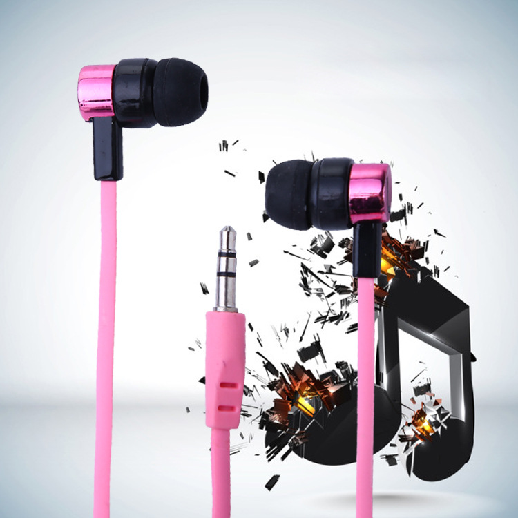 Hot Flat in-ear Earphone Colorful Fashion Comfortable with Bass music 3.5mm Interface for Phone Computer TV