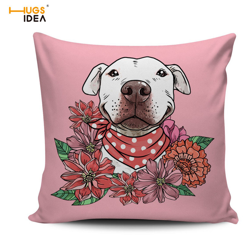 HUGSIDEA Cute Animal Pillow Pink Covers Floral Pit Bull Printing Comfortable Chair Cushi ...