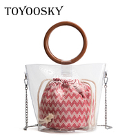 TOYOOSKY 2018 Clear Transparent Bucket PVC Crossbody Bag Ladies Barrel Shaped Small Wood Handle Handbags Women