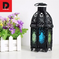 Dehomy Classical Hanging Candle Holder Votive Iron Glass Candlestick Moroccan Lantern Colorful Lights Wedding Home Hotel