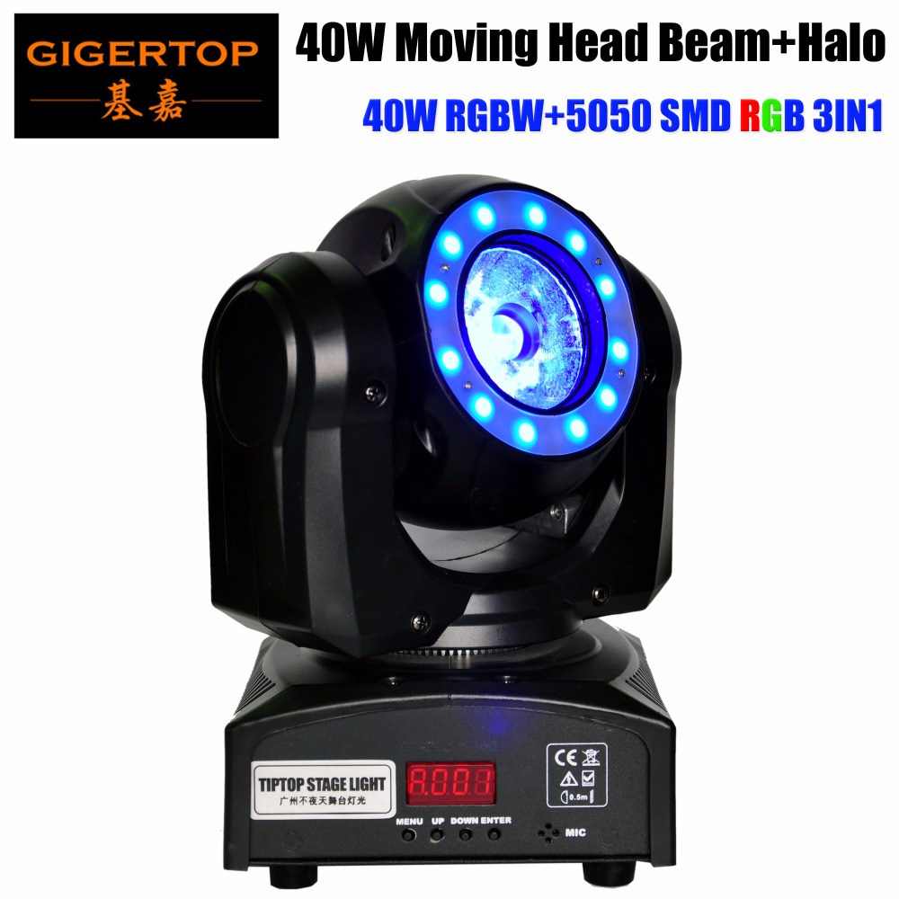 TIPTOP TP-L682 Crazy Beam 40 Fusion LED Moving Head Beam Light 40-Watt Quad RGBW with LED Ring DMX512 For Stage Light Disco RGB led телевизор fusion fltv 32a100t