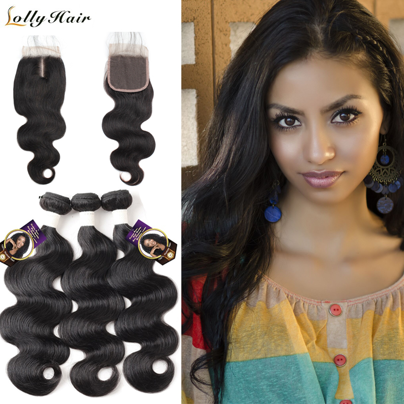 Lolly Brazilian Hair Weave Bundles With Closure Body Wave Human Hair 3 Bundles With Closure With Baby Hair Remy Hair Extensions