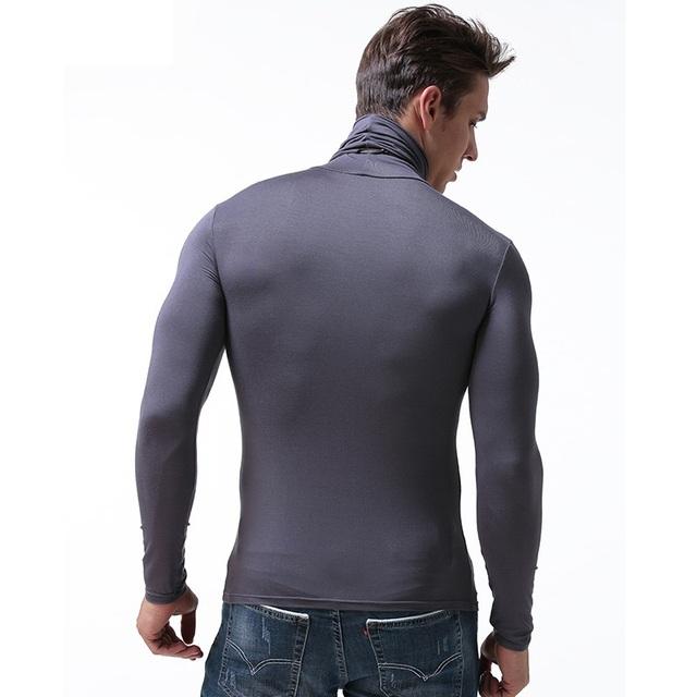 Men modal elastic tight undershirt high neck long
