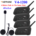 4Pcs V4-1200 4 Riders Bluetooth Intercom Headset Motorcycle Helmet Moto Communicator Headsets BT Intercom Helmet Headphones