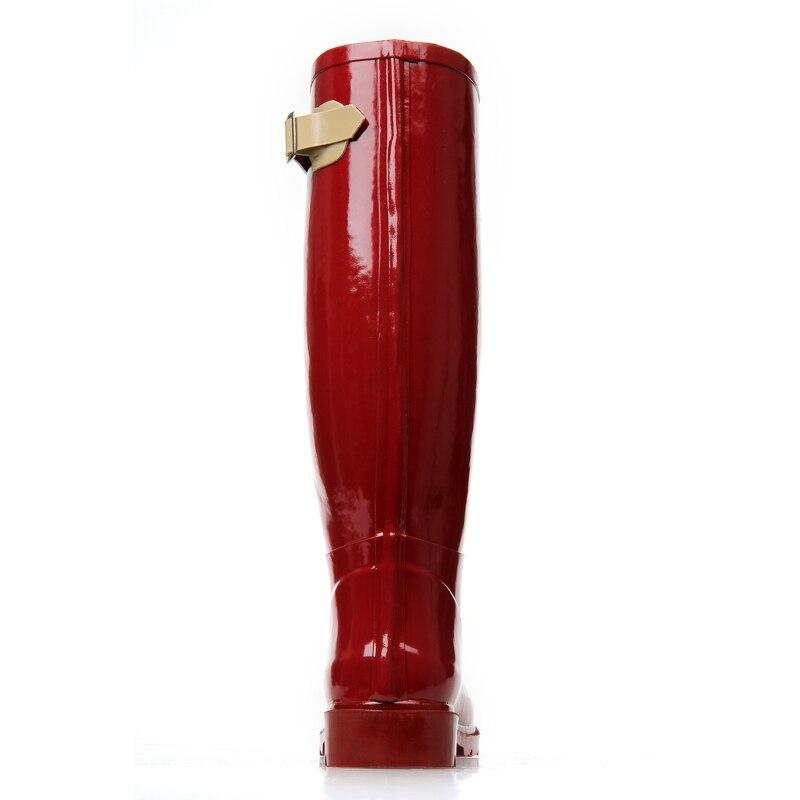 Rojo Transpirable Hasta Lluvia De Antideslizantes Agua Para Moda A Botas Femeninas Rodilla Calidad Rojas Mujer Goma La Impermeables Zapatos HU0PwFq