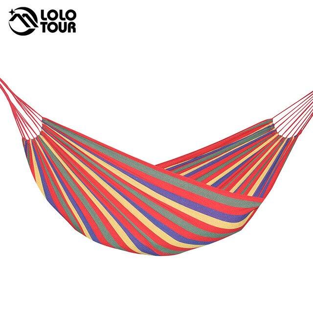 Hamac 2 personnes 240*150cm hamac de loisirs en plein air lit suspendu double couchage toile balançoire hamac camping chasse 2 couleur