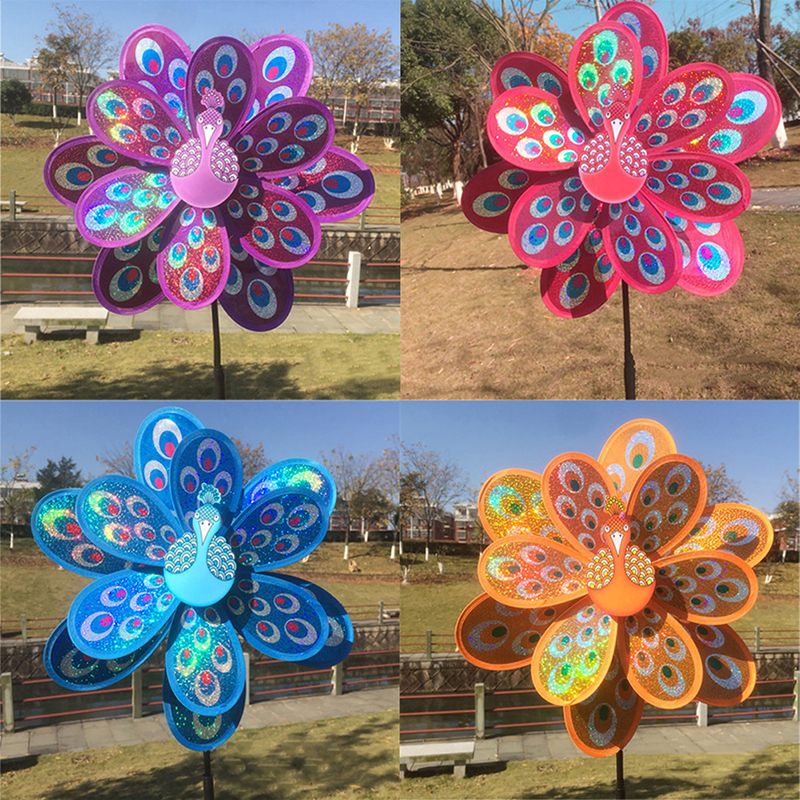 Double Layer Peacock Laser Sequins Windmill Colourful Wind Spinner Home Garden Decor Yard Kids Toy 1