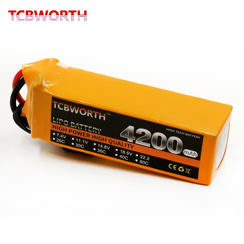 TCBWORTH 6S 22.2V 4200mAh 40C Max  80C RC LiPo battery For RC Helicopter Drone Airplane Li-ion battery