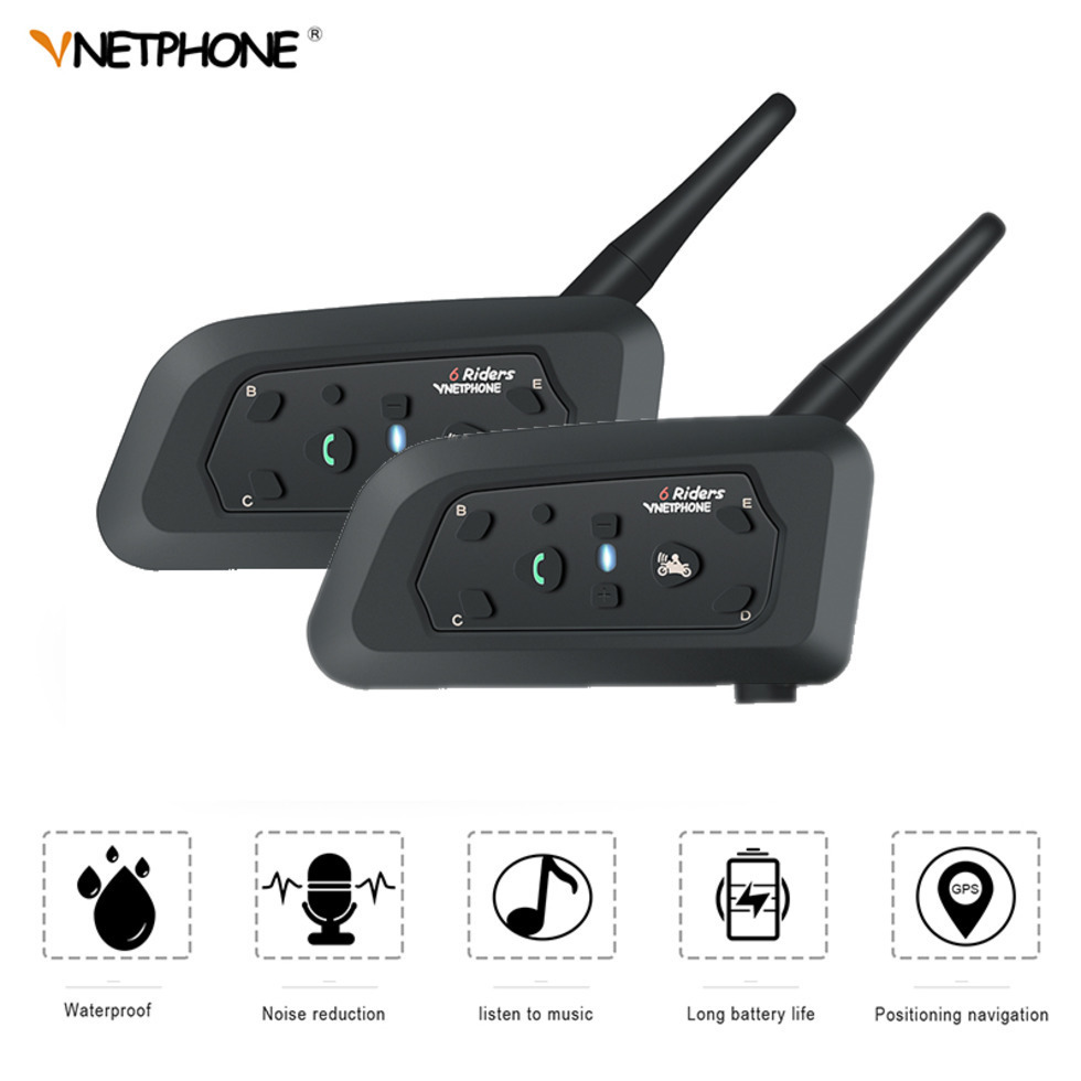 2 pièces VNETPHONE V6 intercomunicador Bluetooth moto interphone casque casque haut-parleur 1.2 km mains libres Support téléphone intelligent