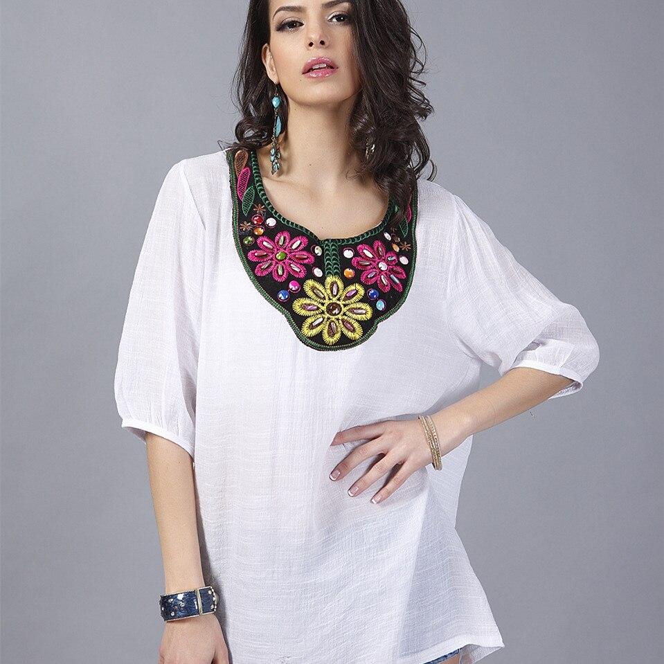 Plus Size Blouse 19 Styles Embroidery Blusa Feminina Renda ...