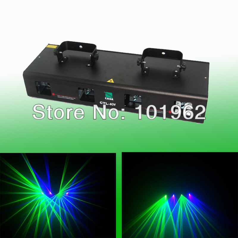Brand New 260mW Green+Violet 4 Lens dj projector tow color Disco laser light for party show