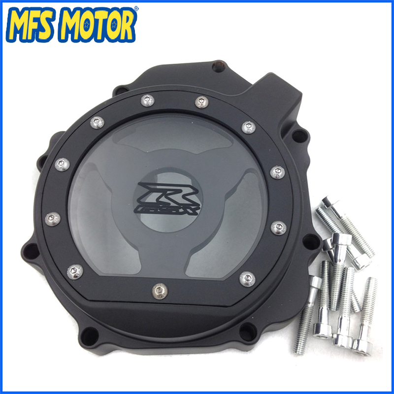 Freeshipping Motorcycle For Suzuki GSXR1000  2005 2006 2007 2008 left side Stator Engine cover see through Black fit for yamaha yzf r6 yzfr6 2006 2007 2008 2009 2010 2011 2012 2013 motorcycle engine stator cover see through chrome left side