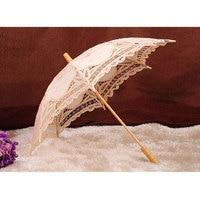 White Beige Lace Sunshade Handmade Bridal Umbrella Retro Lace Umbrella Parasol For Sun For Wedding Decoration