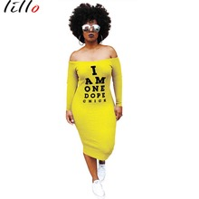 Casual letter print dress New high street super long bag hip yellow black One-necked autumn Long sleeve casual