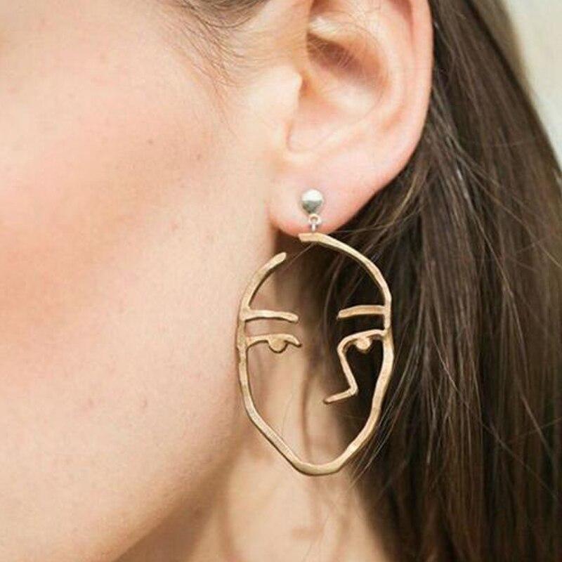 Innovative Weird Fun Human Face Drop Earrings Abstract Outline Cutout Hollow Pendant Dangle Earrings Fashion Jewelry Gem EH161 earrings