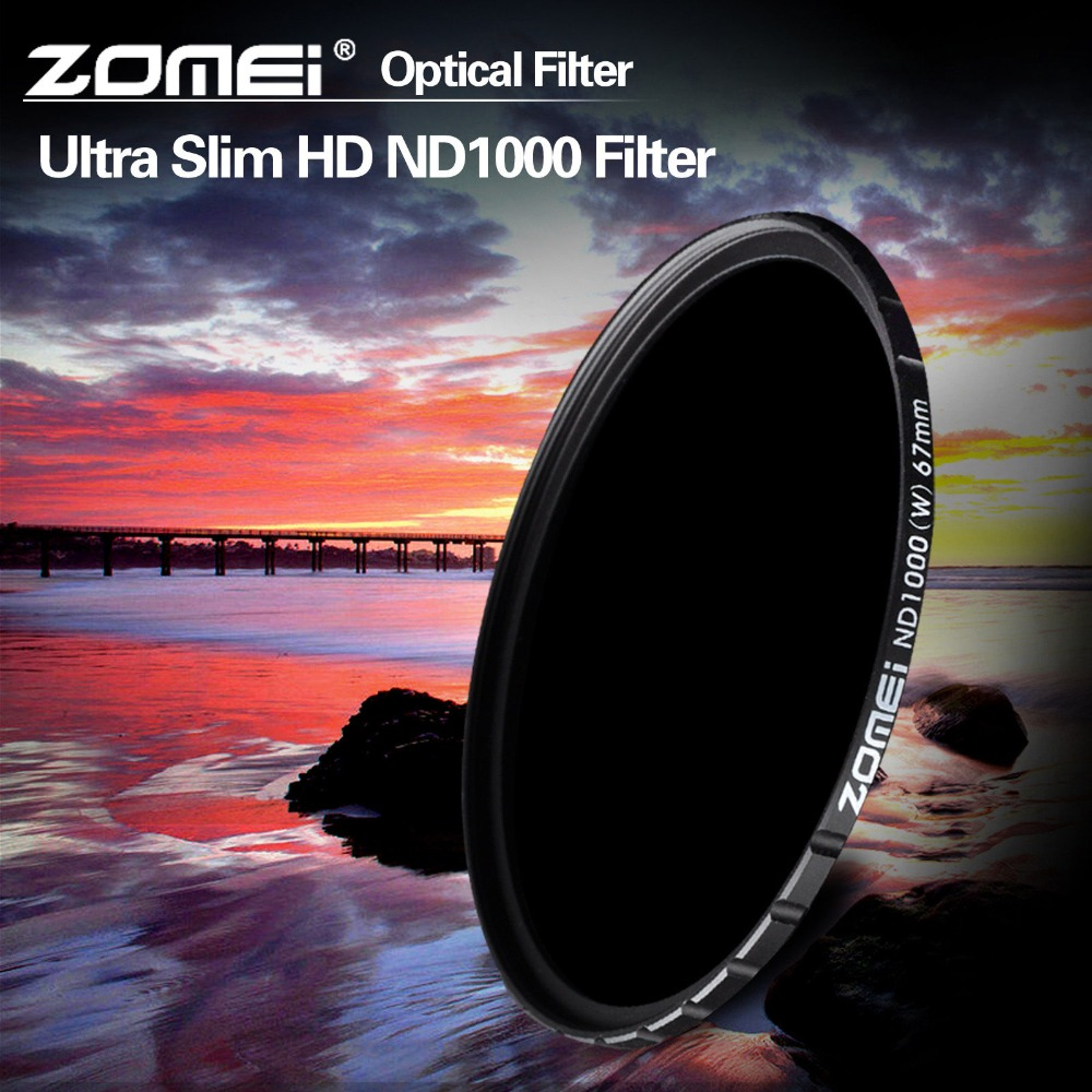 ZOMEI 67mm ND1000 HD Slim ND Filter Multi coated 10 stop/3.0 Neutral Density Gray Lens Filter for Canon Nikon Sony Leica Pentax-in Camera Filters from Consumer Electronics    1