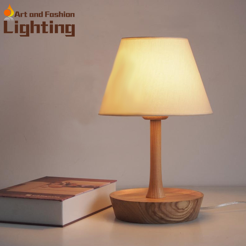 Marvelous Modern Table Lamp Wood Light Led Light Linen Cloth Lamp Shade Oak Wood  Circle Base Bed Room Office Table Book Light In Desk Lamps From Lights U0026  Lighting On ... Amazing Pictures