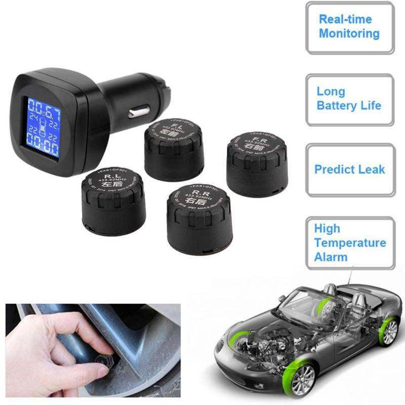 цена на Wireless Car Cigarette Lighter TPMS LCD Real-time Auto Wheel Tyre Tire Pressure Monitoring System with 4 External Sensor