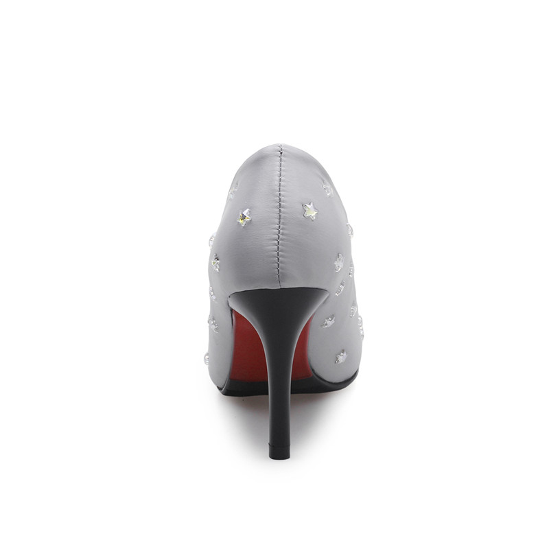 32 Des Mariage Parti Point Supérieure Étoiles Noir Impression De Chaussures Moins gris forme Femme High Heel Femmes Plate Bonjomarisa rouge Taille Grand Soie Pompes 43 2019 Toe PwBE8n