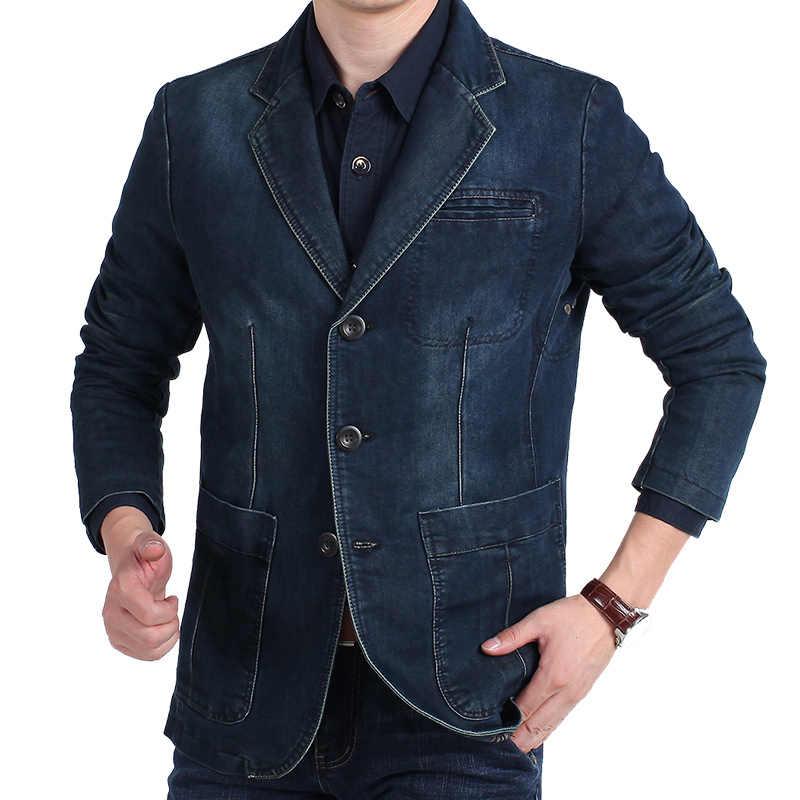 350e6a79b56 ... LONMMY M-4XL джинсовая куртка мужская блейзер хлопковые костюмы для мужчин  ковбойский Блейзер джинсовая куртка ...