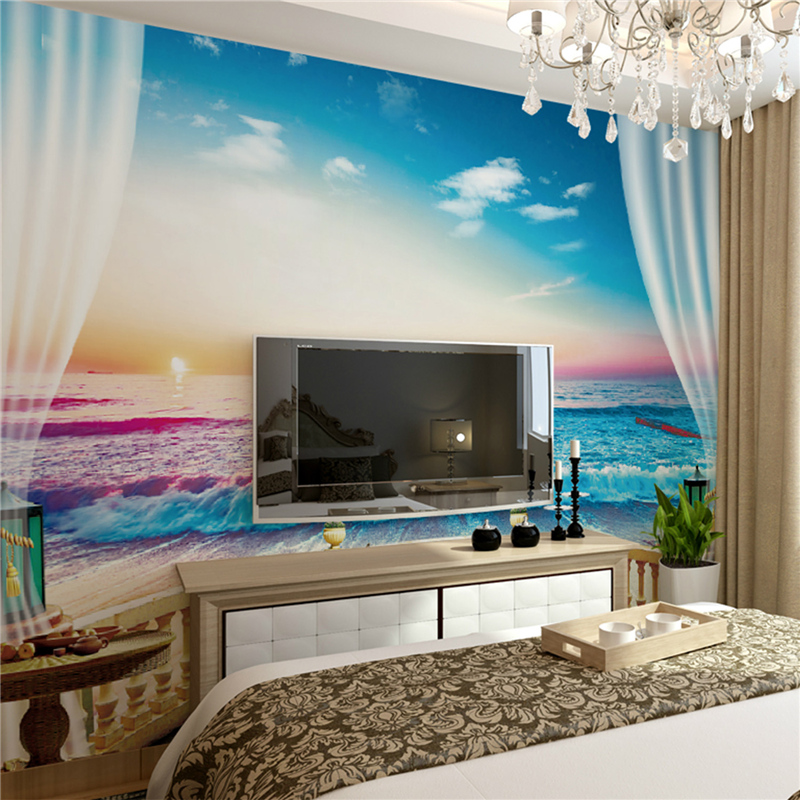 Art Deco Wallpaper Contemporary Wall Covering,Canvas Stereoscopic Large  Mural Gorgeous Sea View Room Wallpaper