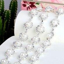 1Yard Costume Rhinestone Applique Rhinestones Crystal Pearl Silver Claw Trim Chain For Wedding Dress Free Shipping AIWUJIA