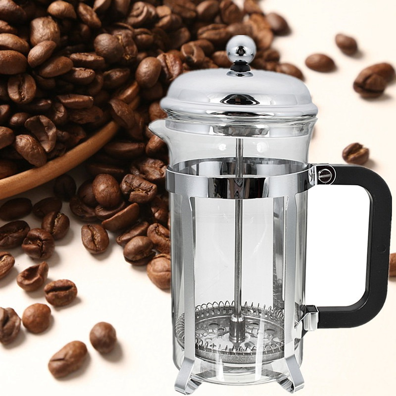 1PC French Press Coffee Plunger Maker 600ml Leaf Carafe Stainless Steel Filter Coffee Pot Coffee Maker Kettle Tea Pot Tool bodum travel press set coffee maker off white