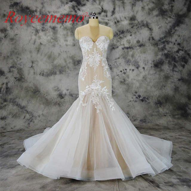 2019 Hot Sale Special Lace Mermaid Wedding Dress Nude Satin Bridal