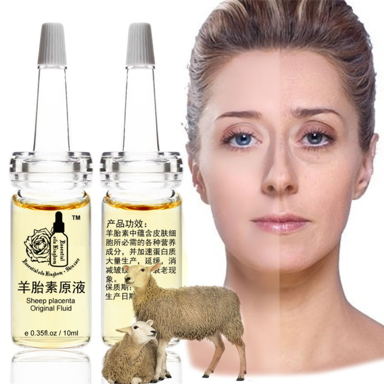 10 ml * 2 pcs Gratis Pengiriman Domba Plasenta Ekstrak Cairan Pemutih Krim Wajah Krim Plasenta Alami Anti-penuaan Keriput