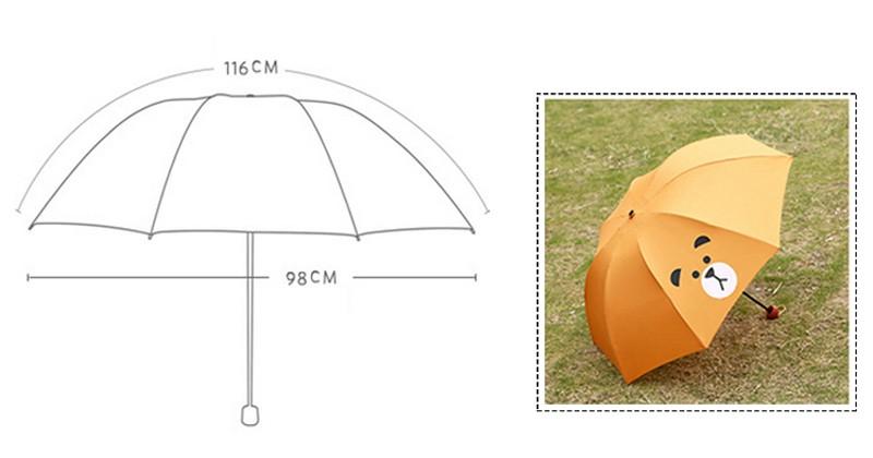 Creative Cute Cartoon Bear Rabbit Totoro Villain Children Umbrella 3 Folding Pongee Windproof Rain Umbrella For Kids11