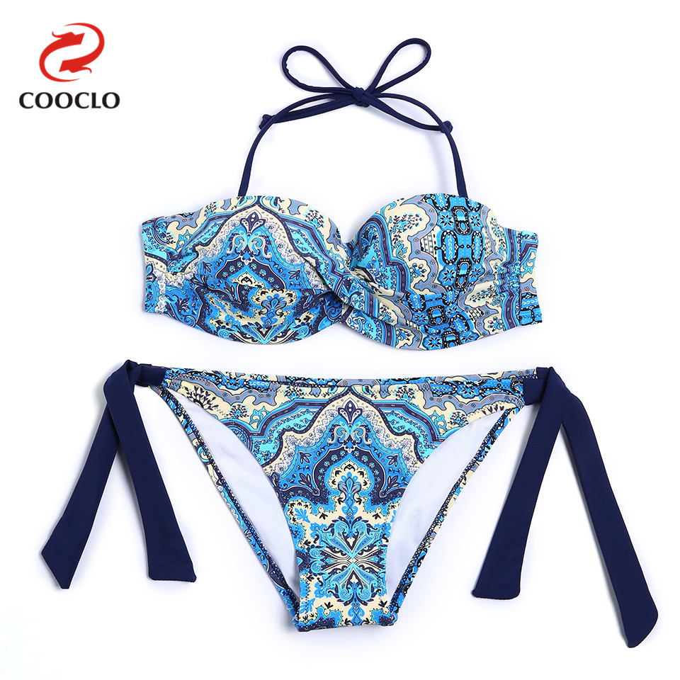 все цены на COOCLO Bandeau Top Print Bikini Set 2018 Swimsuit Women Swimwear Bathing Suit Maillot De Bain Biquini Push up Swim Beach Wear