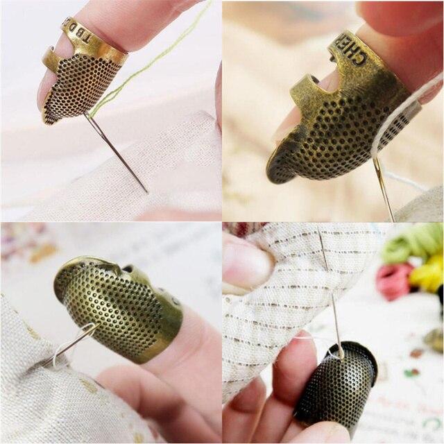 1PC Retro Handworking dedal para coser dedo Protector costura latón Metal dedal para coser DIY accesorios para herramientas de costura