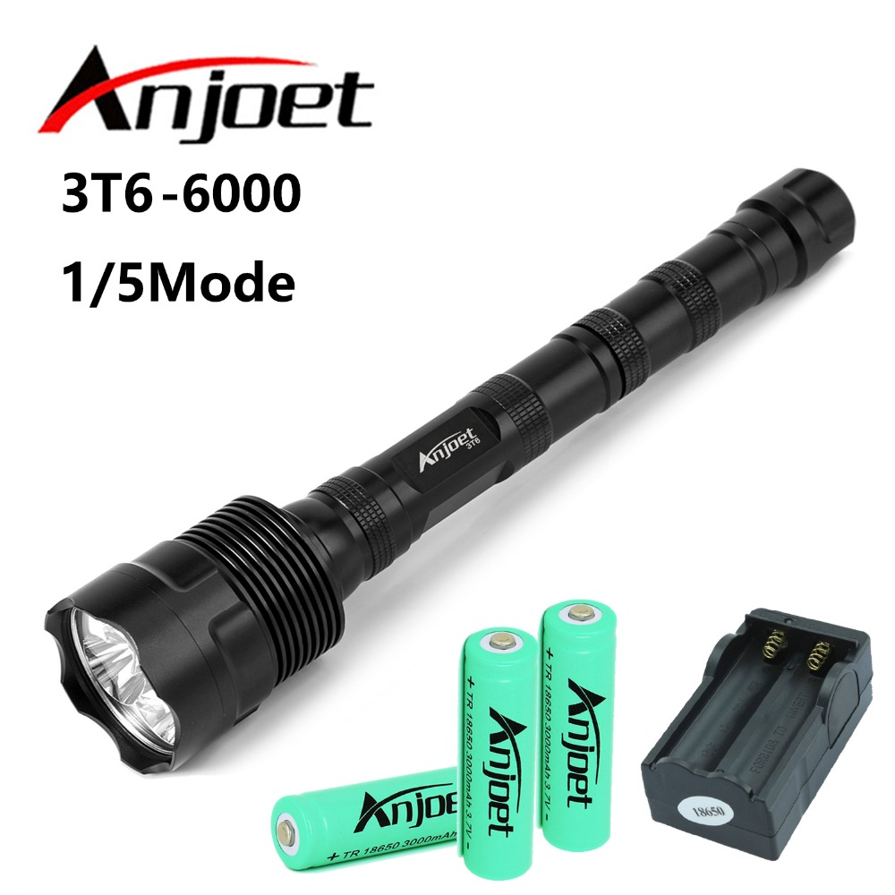 Anjoet Sets 6000LM Tactical Flashlight XM-L 3T6 LED Hunting self defense Torch bicycle Light Lamp+3x18650 Battery+Charger EU/US 6000 lm 3 led xm l t6 led flashlight torch 3t6 self defense lanterna 16850 flash light linterna led battery charger