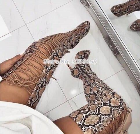 Almudena Picture Bottes Toe Robe Peau genou Over Imprimé as Gladiateur As liens Opent customized Picture Serpent De Croix Longue Célébrité the Dames Sandale Chaussures Sexy rz6Tqrg