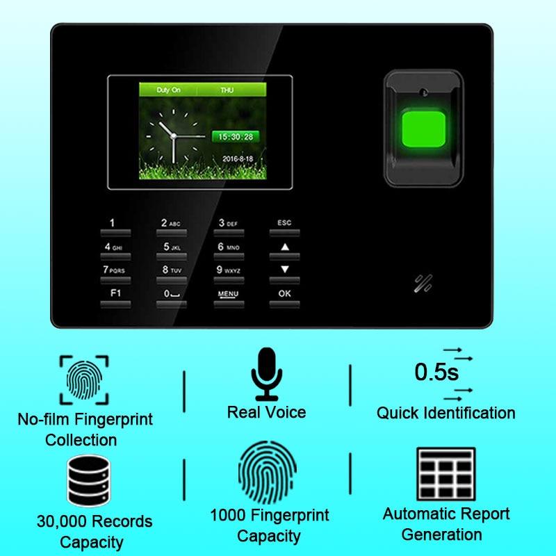Eesye Biometric Fingerprint Time Attendance Machine USB Fingerprint Reader Access Control Fingerprint Employee Time Clock TCP IP