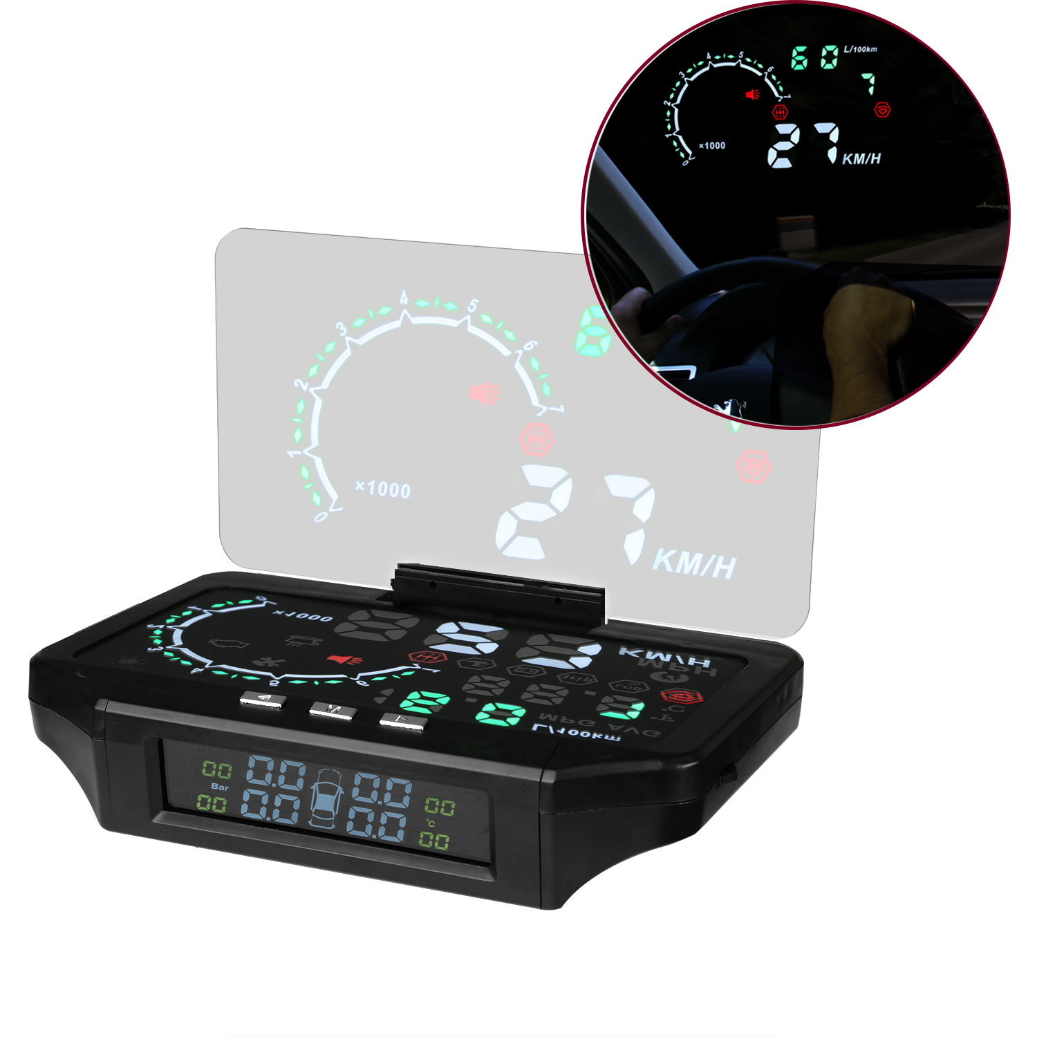 HUD car head-up display with tire pressure monitoring car driving computer checker display стоимость
