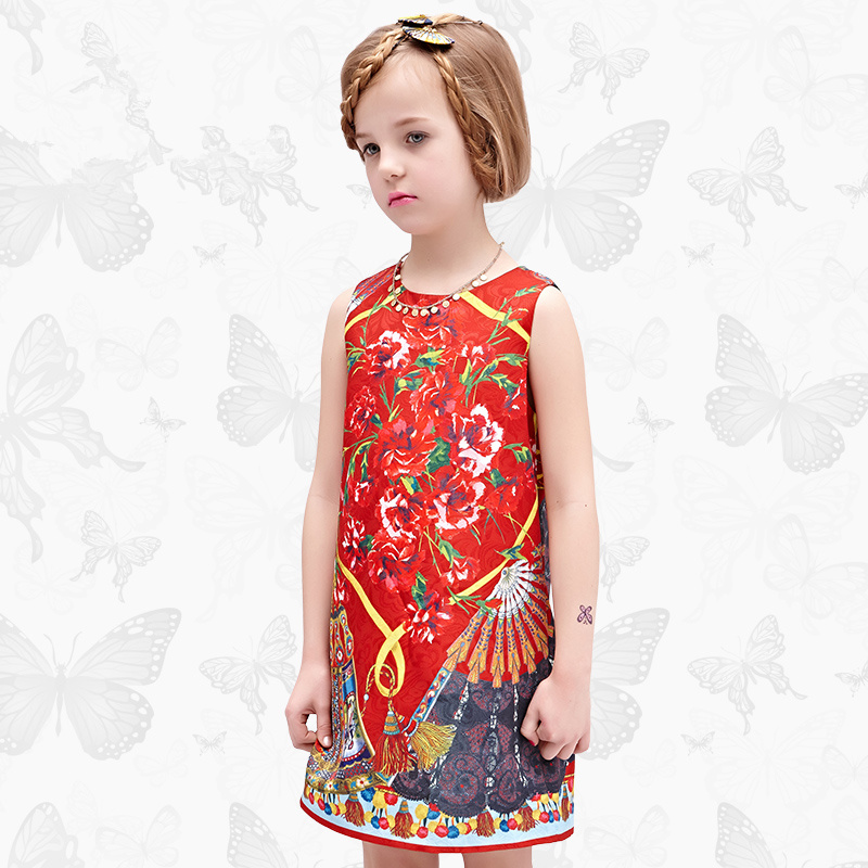 W.L.Monsoon Spring and autumn New Girl dress Thin section Floral vest Foreign cotton A-line dress