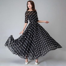 Women Black Polka Dots Dress Chiffon Elegant Vintage Print Dress Casual Office Holiday Swing Ladies Maxi Long Dress