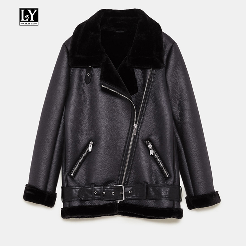 Ly Varey Lin New Women Faux Sheepskin Coat Winter Vintage Leopard Print Motorcycle Female Faux Lamb   Leather   Warm Thick Outerwear
