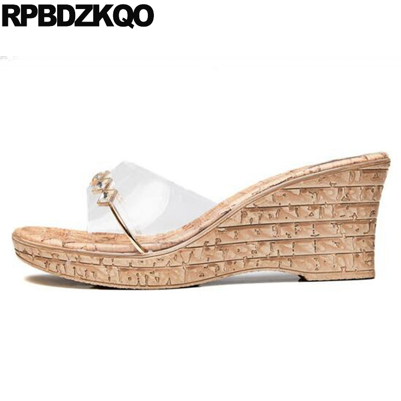 7fc7b8a3a Platform Pumps Transparent High Heels Cork Shoes Cheap Diamond Rhinestone  2018 Sandals Korean Pvc Wedge Open Toe Slides Women
