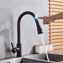 Por Sense Kitchen Faucet Touch Black Deck Mounted Single Handle Hole Bathroom Washing Sink Mixer Taps