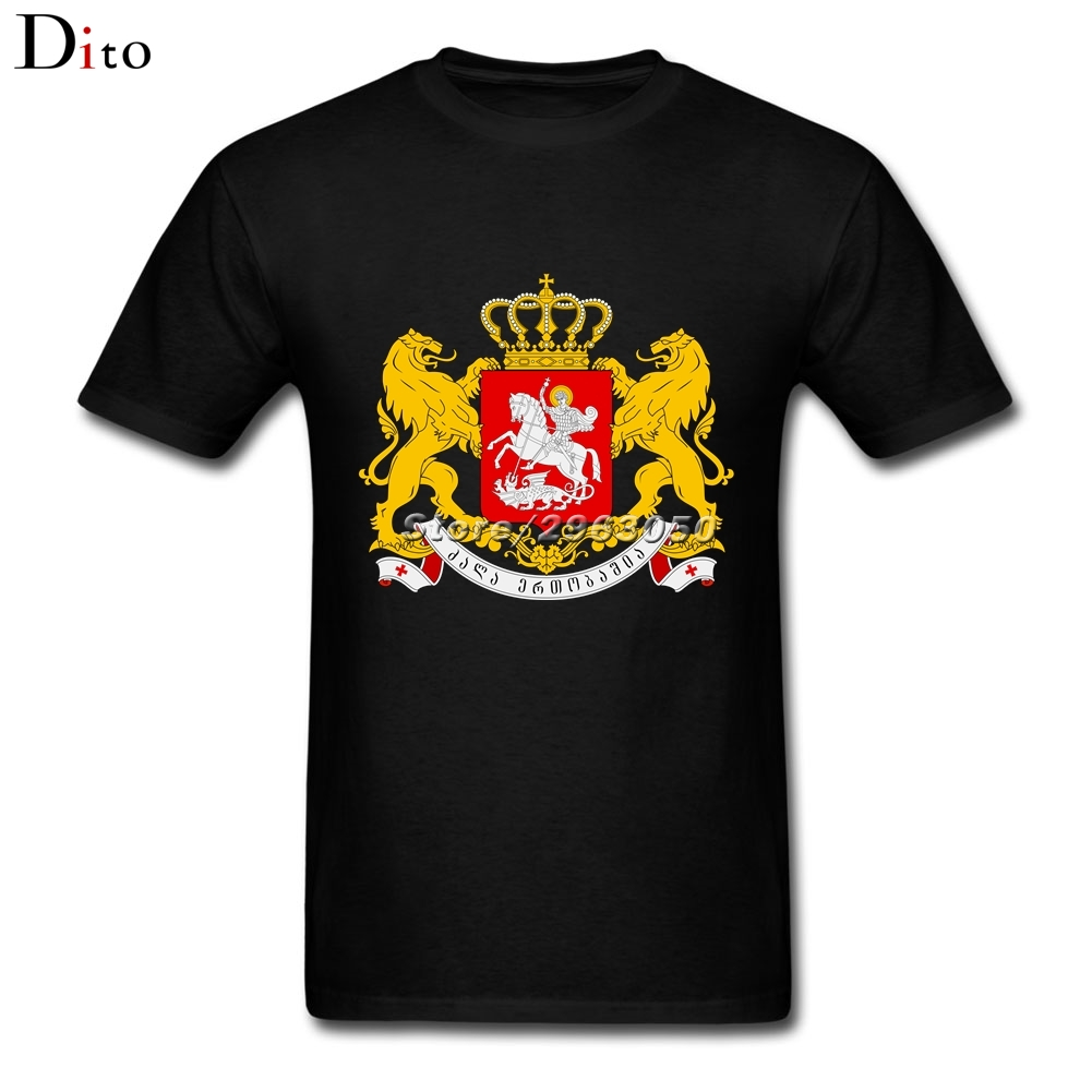 Coat of arms of Georgia T-shirt Men Male Fashion Custom Short Sleeve Valentines XXXL Family Tshirts