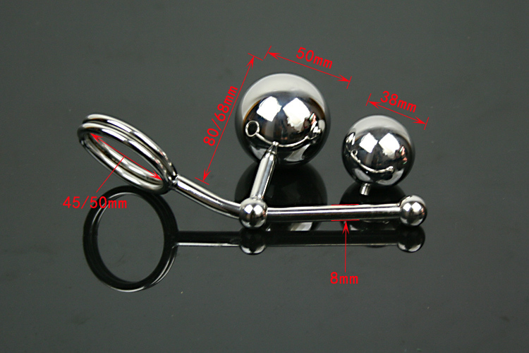 Stainless steel metal dual ball butt plug anal hook erotic sex slave with penis cock rings fetish Chastity sex toys for male