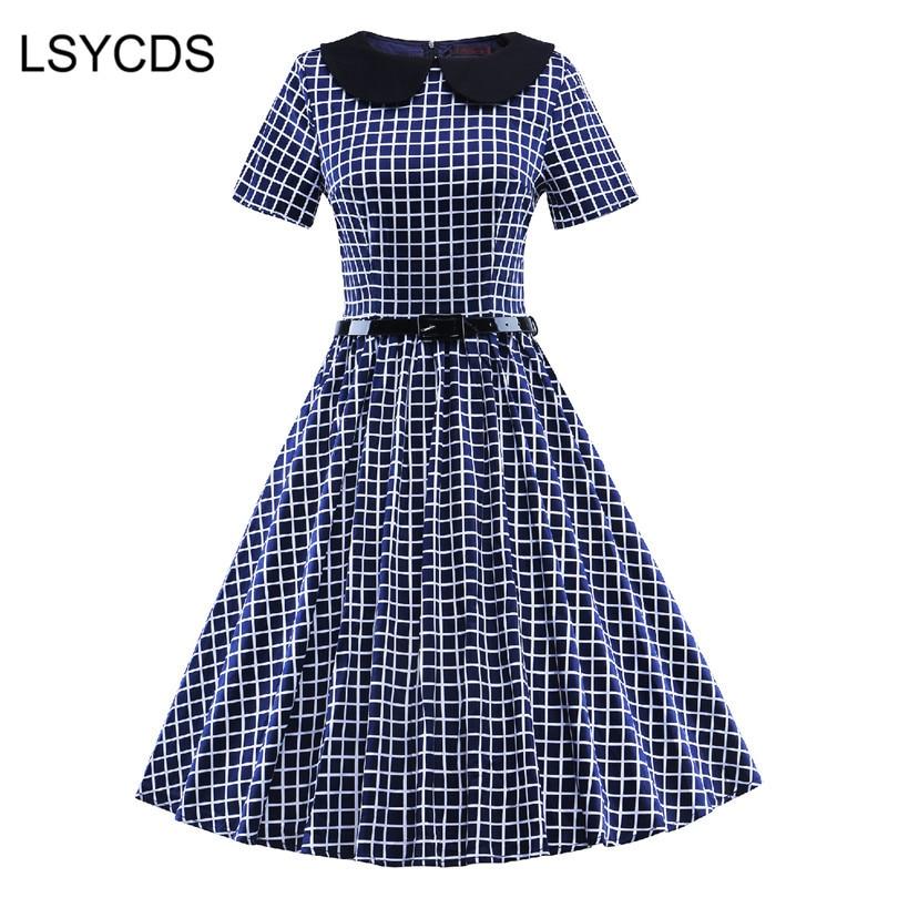 Lsycds Short Peter blue Rockabilly Dress Women white Hepburn Sleeve Collar Vestidos Robe Retro Party Casual Vintage 50s Pan Black Plaid rwFrqBz
