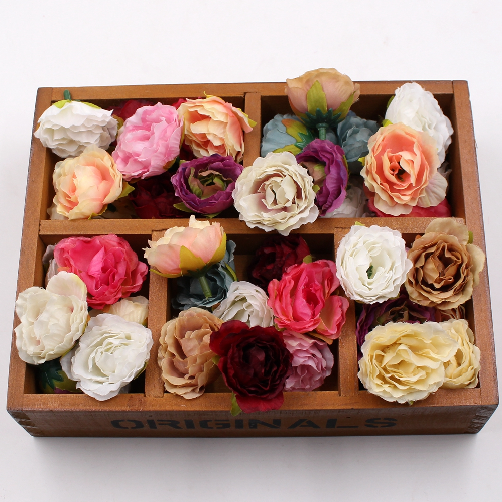 10pcs Blooming Peony Silk Artificial Flower For Wedding Party Home Room Decoration Marriage Shoe Hats Accessories Handmade Craft