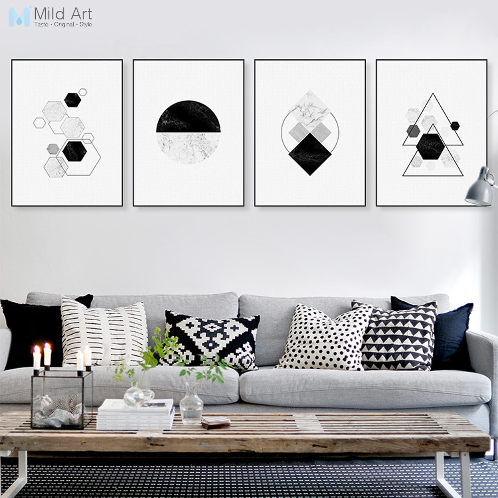 Black White Abstract Mable Geometric Shape Poster And Print Scandinavian Living  Room Wall Art Home Deco Canvas Painting No Frame