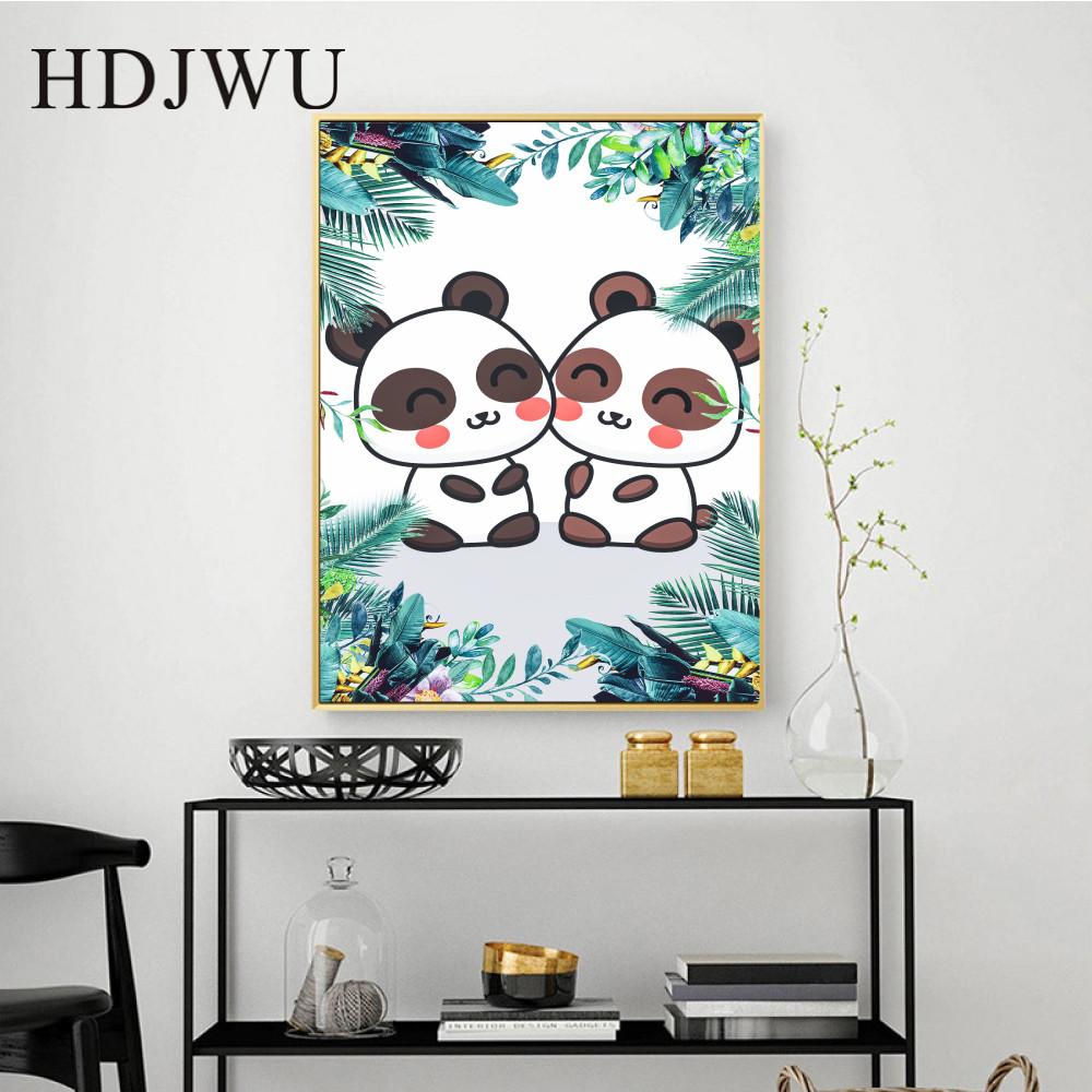 Cartoon Art Nordic Home Decor Canvas Painting Wall Pictures Leaf Dog Cute Panda Printing Wall Posters for Living Room DJ210 in Painting Calligraphy from Home Garden