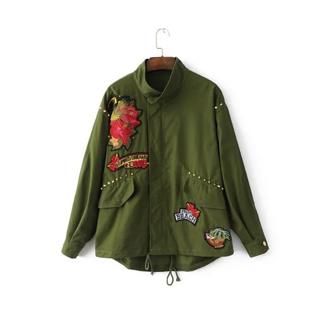 Women army green floral bird car embroidery patch bomber jacket rivet studded loose flight jacket casual coats outwear